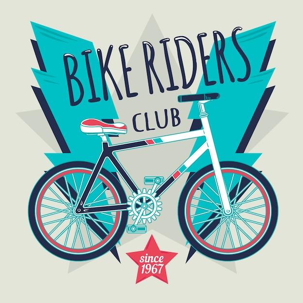 Illustratie van fiets met bliksem en een ster in het midden. Gratis Vector