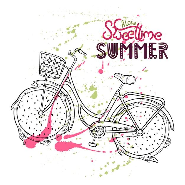 Illustratie van fiets met drakenfruit in plaats van wielen. Premium Vector