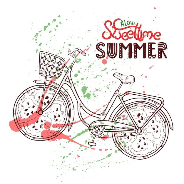 Illustratie van fiets met watermeloen in plaats van wielen. Premium Vector