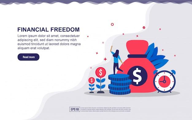 Illustratie van financiële vrijheid & zakelijk succes met kleine mensen. illustratie voor bestemmingspagina, sociale media-inhoud, reclame. Premium Vector
