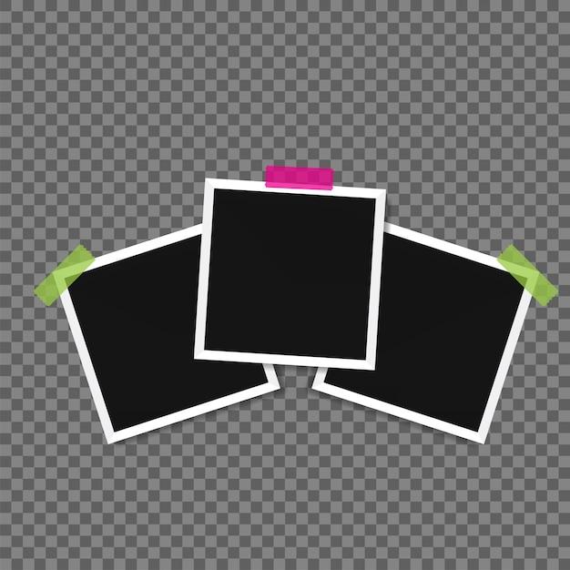 Illustratie van fotolijst sjablonen op transparante achtergrond voor foto's Premium Vector