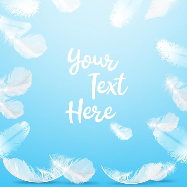 Illustratie van frame delicate witte veren op blauwe achtergrond met ruimte voor tekst Premium Vector
