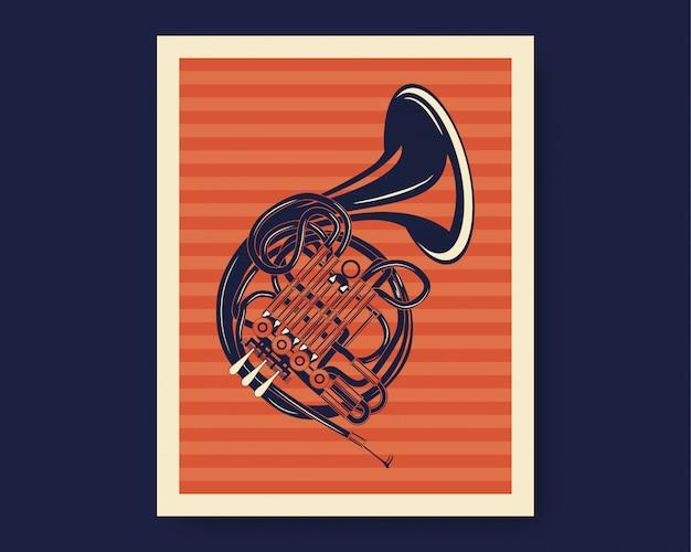Illustratie van franse hoorn of trompet met klassieke vintage stijl Premium Vector
