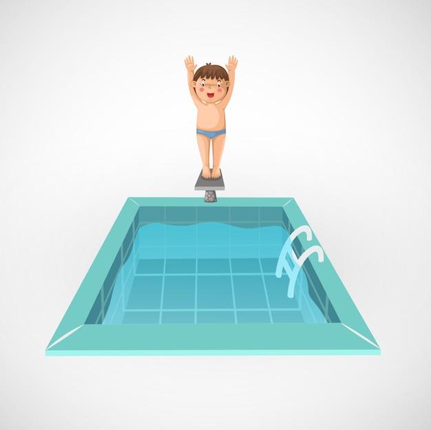 Illustratie van geïsoleerde jongen en een zwembad Premium Vector