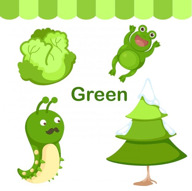 Illustratie van geïsoleerde kleuren groene groep Premium Vector