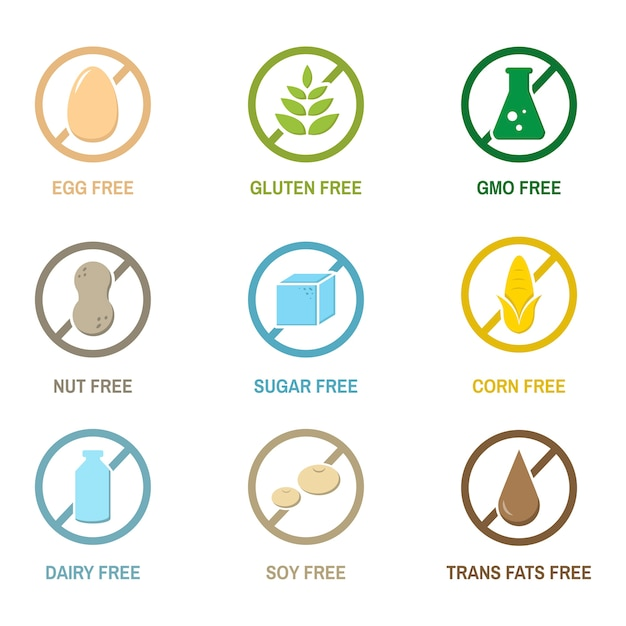 Illustratie van geïsoleerde voedselallergiepictogrammen Gratis Vector