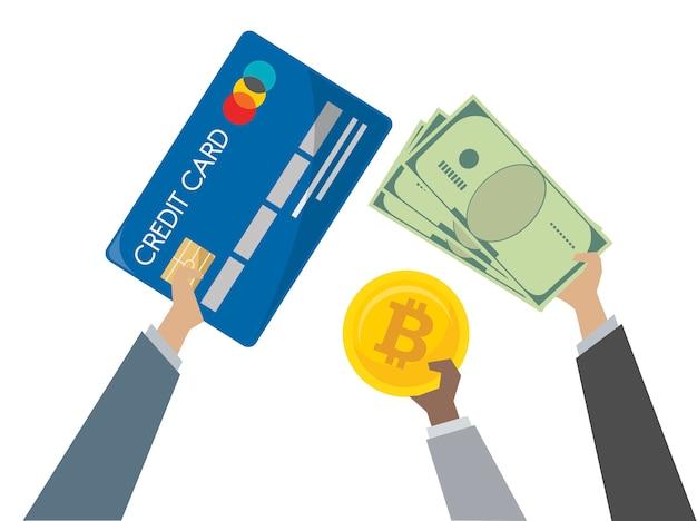 Illustratie van gelduitwisseling en bankieren Gratis Vector