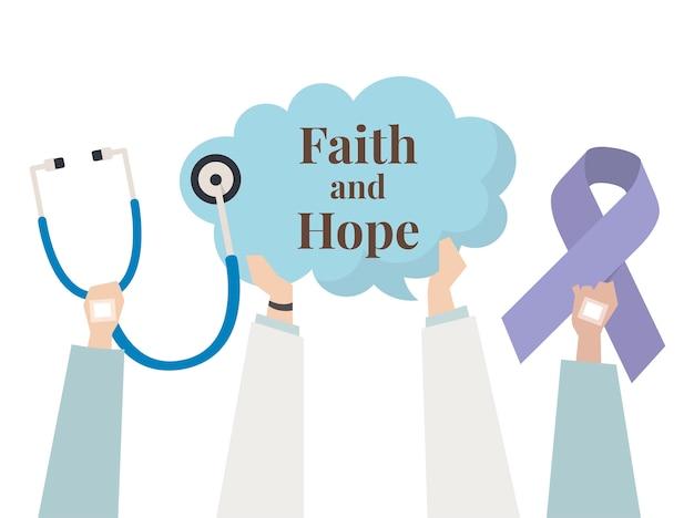 Illustratie van geloof en hoopconcept Gratis Vector