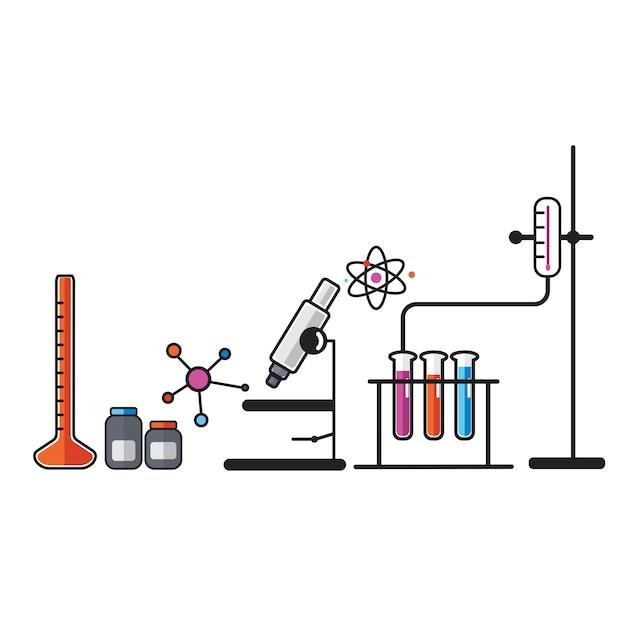 Illustratie van geplaatste chemielaboratoriuminstrumenten Gratis Vector