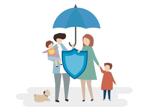 Illustratie van gezinsverzekeringen Gratis Vector