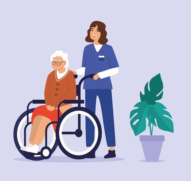 Illustratie van gezondheidszorgassistent op plichten met bejaarde dame in rolstoelen in verzorgingshuis. Premium Vector