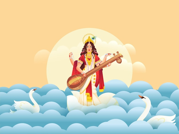 Illustratie van godin saraswati maa met zwanen en papier gesneden golven Premium Vector