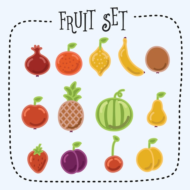 Illustratie van grappige fruit icon set Premium Vector