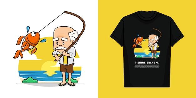 Illustratie van grootvader is vissen met t-shirt design Premium Vector