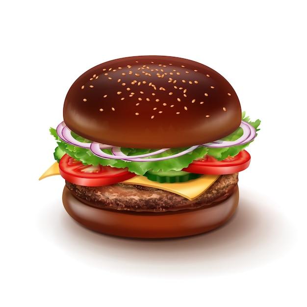 Illustratie van grote cheeseburger met zwart broodje, sesam, groenten, kaas en rundvleespasteitje. Premium Vector