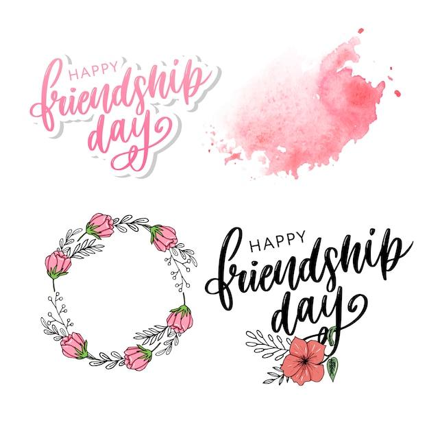 Illustratie van hand getrokken gelukkige felicitatie van de vriendschapsdag in mode stylee. Premium Vector