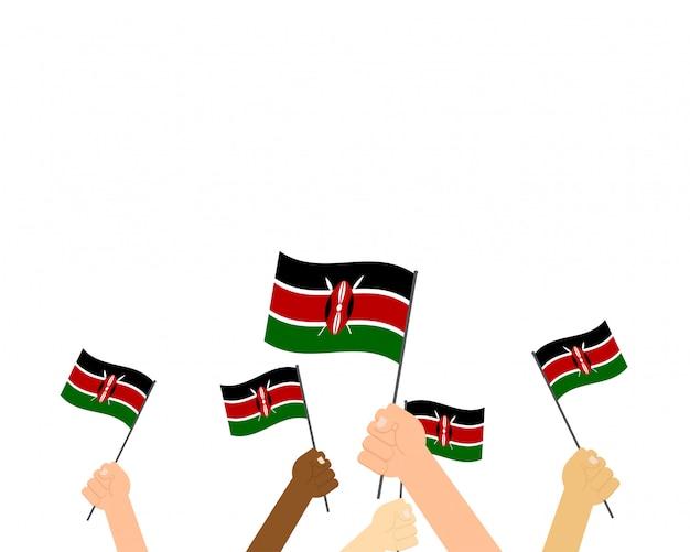Illustratie van handen met kenia vlaggen Premium Vector