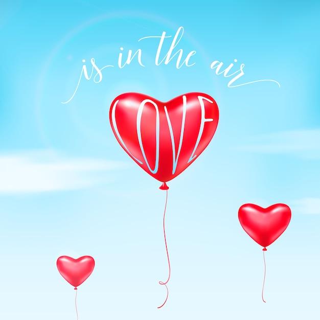 Illustratie van hartballon in de lucht, witte wolken, de tekstteken van het kalligrafiecitaat. er is liefde in de lucht. Gratis Vector