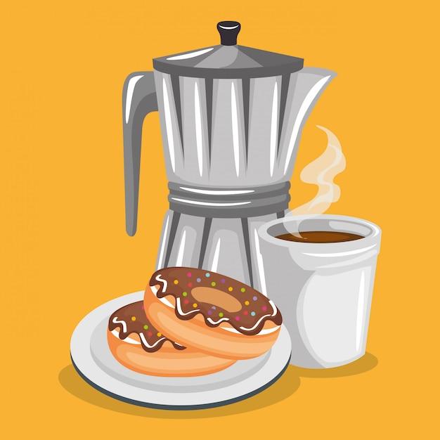 Illustratie van heerlijke koffie in theepot en donuts Gratis Vector
