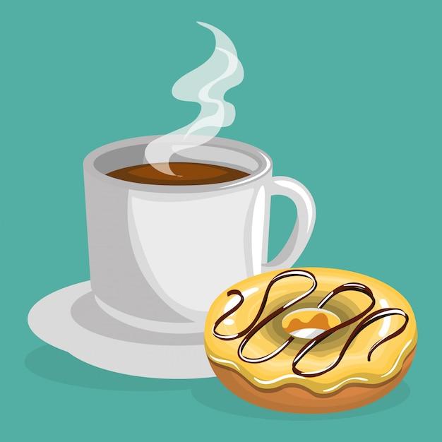 Illustratie van heerlijke koffiekopje en donuts Gratis Vector