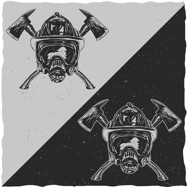 Illustratie van helmen met gekruiste assen Gratis Vector