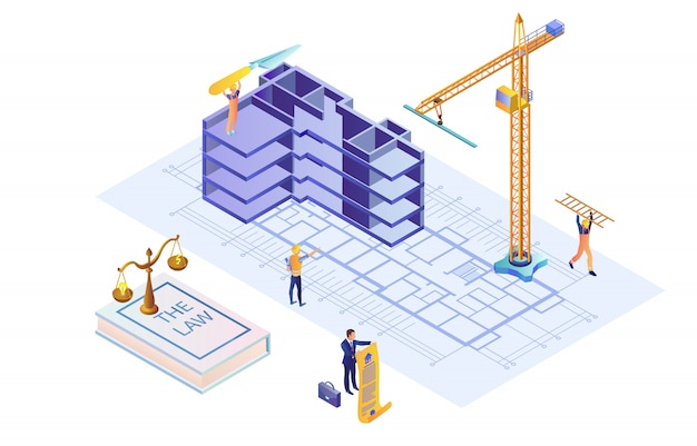 Illustratie van het bouwen van zaak op basis van de wet isometrische plat. Premium Vector