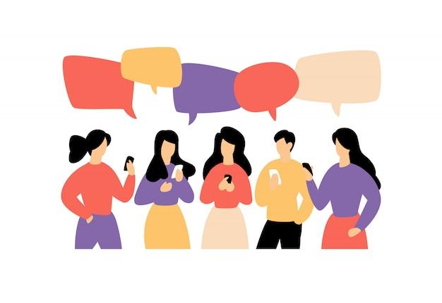 Illustratie van het communiceren van mensen Premium Vector