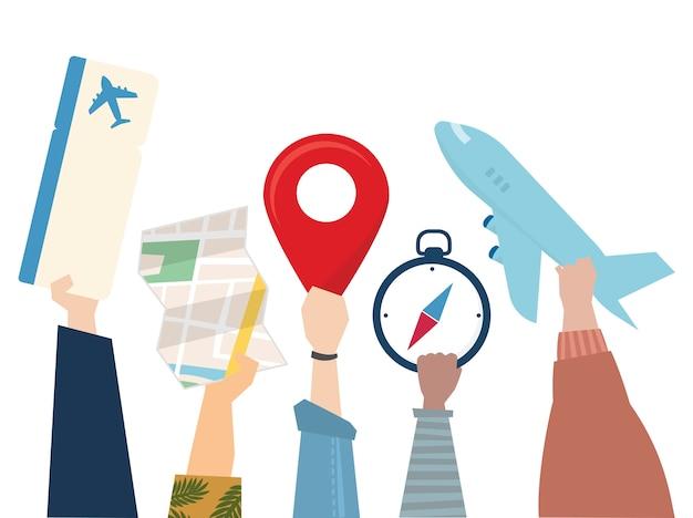 Illustratie van het concept van de reisreis Gratis Vector