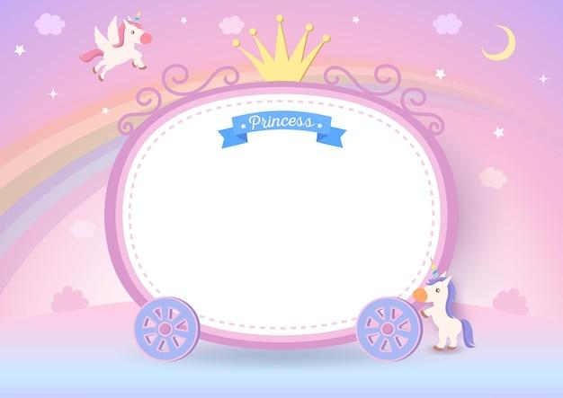 Illustratie van het frame van de prinseskar met eenhoorns op de achtergrond van de pastelkleurregenboog. Premium Vector