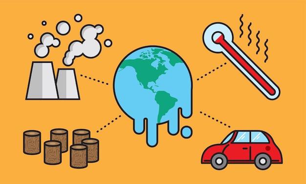Illustratie van het globale verwarmen concept Gratis Vector