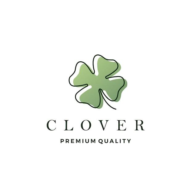 Illustratie van het het embleem de vectorpictogram van het klaverblad Premium Vector