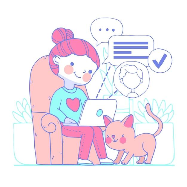 Illustratie van het jonge vrouw telewerken Gratis Vector