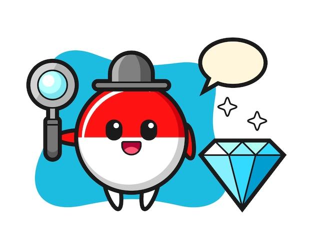 Illustratie van het karakter van het de vlagkenteken van indonesië met een diamant Premium Vector