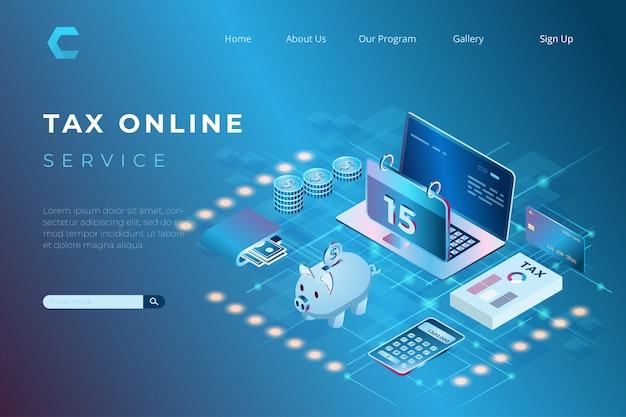 Illustratie van het online betalen van belastingen met het concept van isometrische bestemmingspagina's en web headers Premium Vector