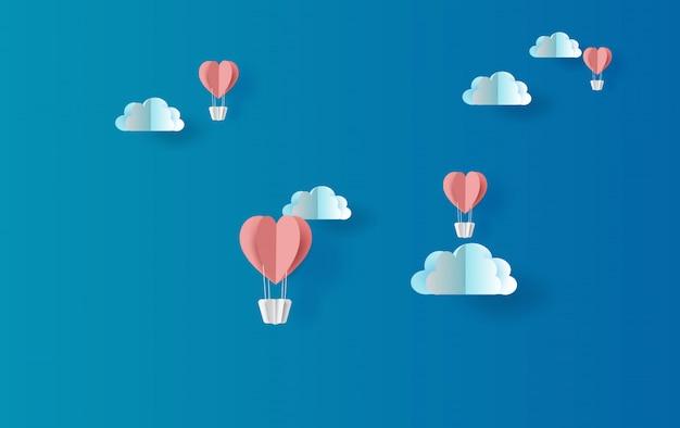 Illustratie van het rode ballonshart drijven Premium Vector