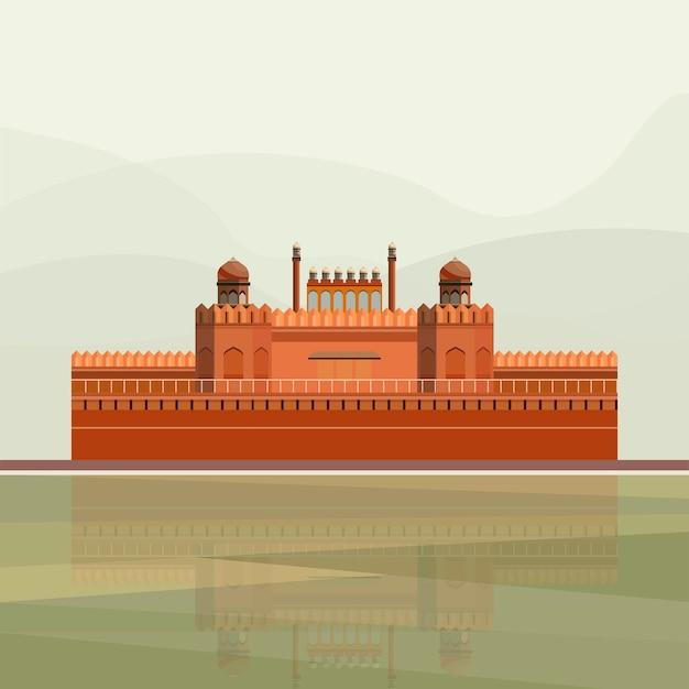 Illustratie van het rode fort Gratis Vector