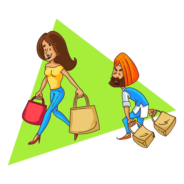 Illustratie van het winkelen van het paar van de punjabi sardar. Premium Vector