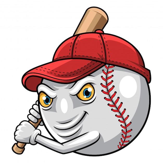 Illustratie van honkbal klaar om mascotte te slaan Premium Vector