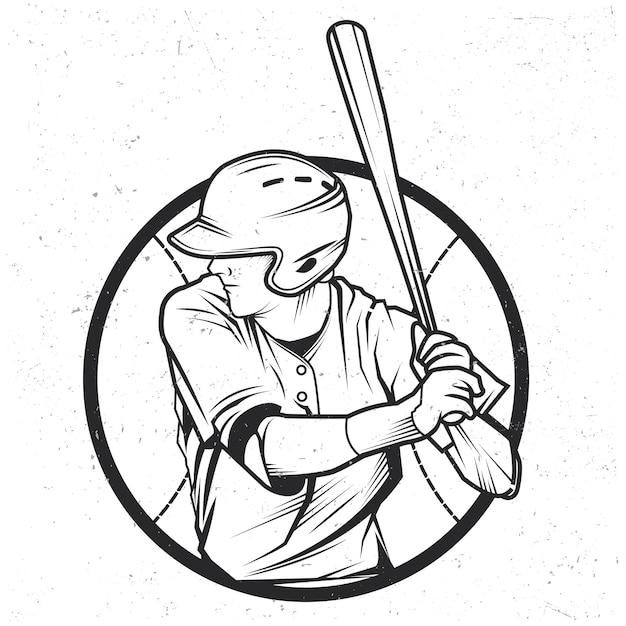 Illustratie van honkbalspeler Gratis Vector