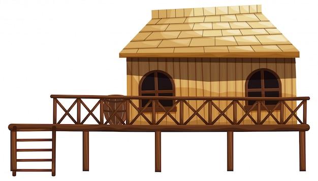 Illustratie van houten hut met ladder Gratis Vector