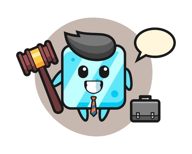 Illustratie van ijsblokjesmascotte als advocaat Premium Vector
