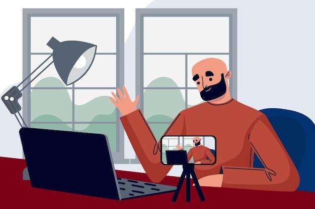 Illustratie van influencer die nieuwe video opneemt Gratis Vector