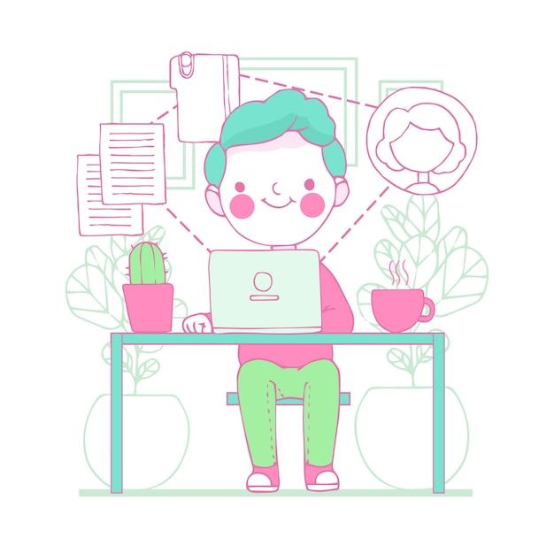 Illustratie van jonge man telewerken Gratis Vector