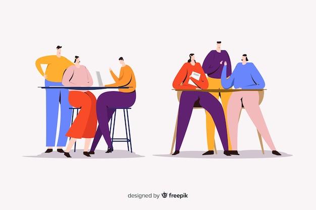 Illustratie van jonge vrouwen die tijd samen doorbrengen Gratis Vector