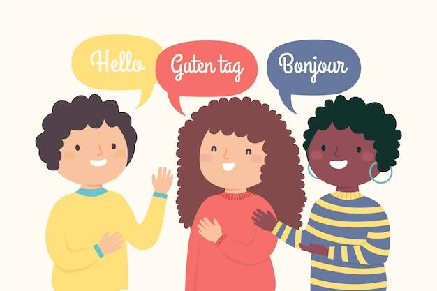 Illustratie van jongeren die hallo zeggen in verschillende talen Gratis Vector