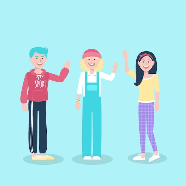 Illustratie van jongeren die hand golven Gratis Vector