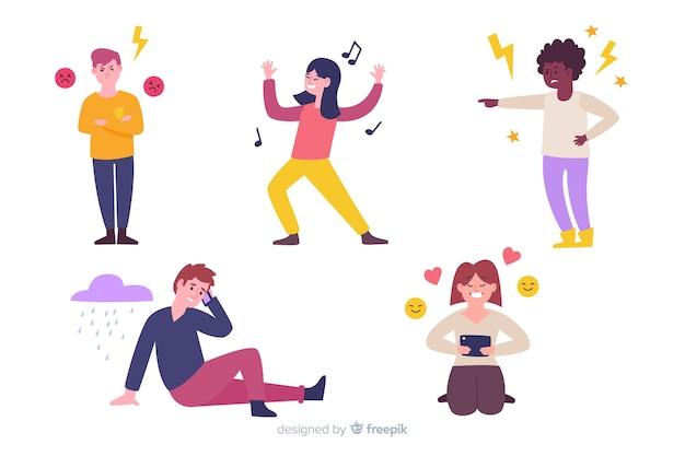 Illustratie van jongeren met verschillende emoties Gratis Vector