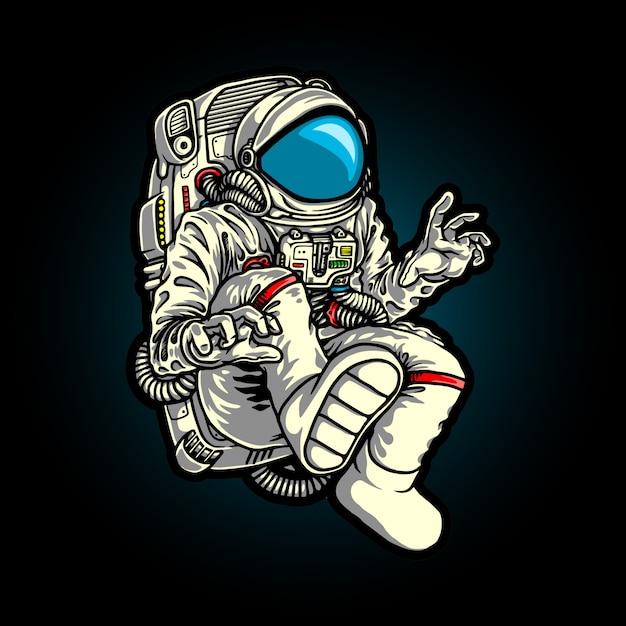 Illustratie van karakter vliegende astronaut in de melkweg Premium Vector