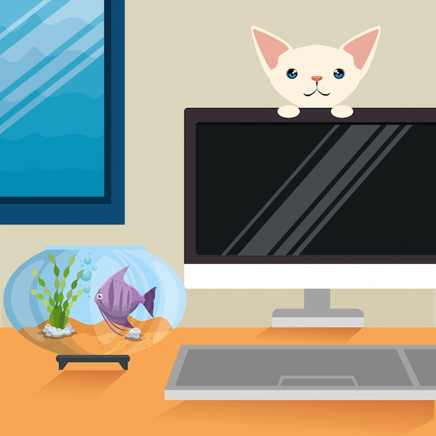 Illustratie van kat en vis in aquariumscène Gratis Vector