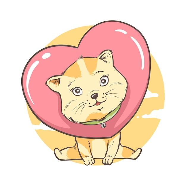 Illustratie van kat met hart. kaart en achtergrond Premium Vector